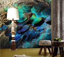 Pluma colorida Foto Mural 3D Fondos de Escritorio de Encargo Cualquier Tamaño para la Sala de estar TV Backside Foto Murales de Pared Decorativos