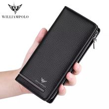 WILLIAMPOLO leather luxury brand mens wallet long clutch bag business storage purse PL219
