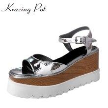 Krazing pot/New Hot Искусственная кожа Пять Star узоры Brand Shoes Большие размеры Peep Toe на платформе Водонепроницаемые босоножки ручной работы L3f3
