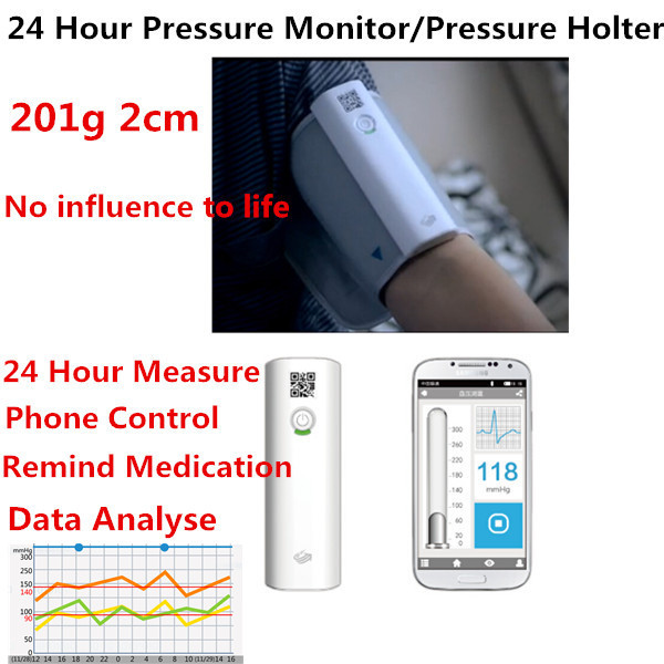 2015 Rushed Cfda Approved 24 Hours Digital Ambulatory Blood Pressure Monitor Holter Abpm Bp Automatic Tonometer Medical Device btl cardiopoint holter h100