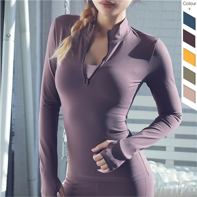 2019 Hot sale compression womens quick dry running sports t-shirt sexy fitness yoga gym tshirt front zipper long sleeve shirt 1