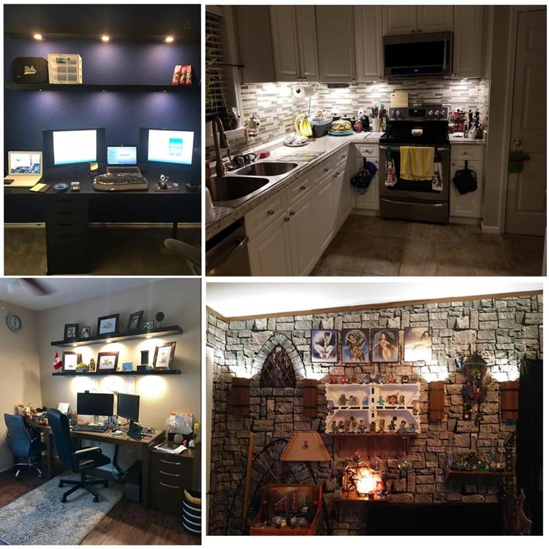 Wall Fixtures Under Cabinet Lighting Kit Led Light Puck Bulb Kitchen Shelf Counter Hardwired Home Garden Yuki Be