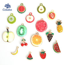 New Arrival Drop Oil Enamel Alloy Multiple Fruit Shape Charms Pendants for Earrings Necklace Jewelry Findings(China)