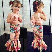 Детская одежда для маленьких девочек; однотонные топы без рукавов с открытыми плечами и бретельками; штаны с цветочным принтом; 2 предмета; хлопковая повседневная одежда для новорожденных