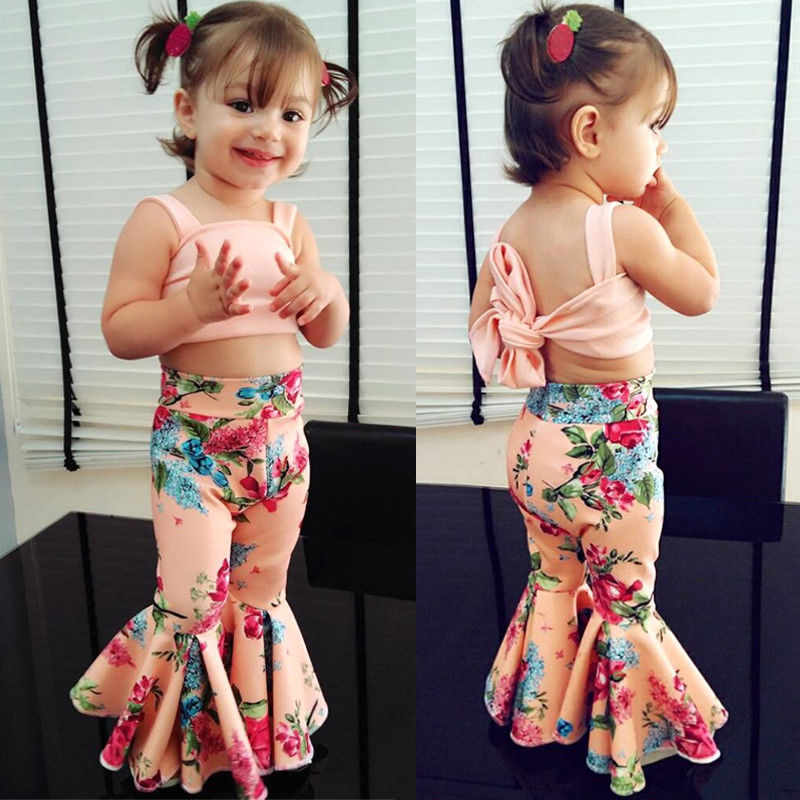 2Pcs//Set Toddler Baby Girls Clothes Sleeveless Romper//Long Sleeve Tops Flared Pants Bell-Bottoms Outfits