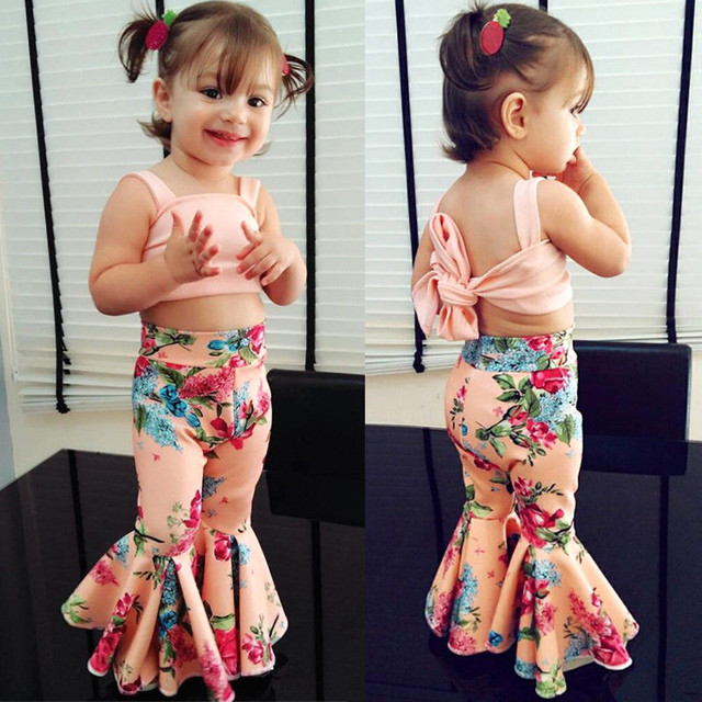 Kids Baby Girls clothes off shoulder strap solid sleeveless Tops Flower print Pants 2pc cotton casual Toddler newborn Outfits