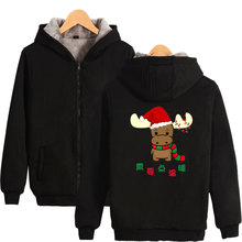 LUCKYFRIDAYF Hip Hop Christmas Thicker Zipper Hoodie Sweatshirt Fashion Picture warm-ing Free Style Hoodies Clothes
