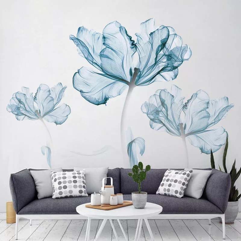 Blue Flower large Wall Stickers Decorationh Vinyl for Bedroom wall stickers home decor living room wall art Poster