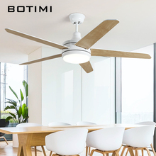 Botimi Nordic Led Ceiling Fans With Lights Ventilador De Teto 220V White Ceiling Fan Lights Modern Wooden Cooling Fan Lamp цена и фото