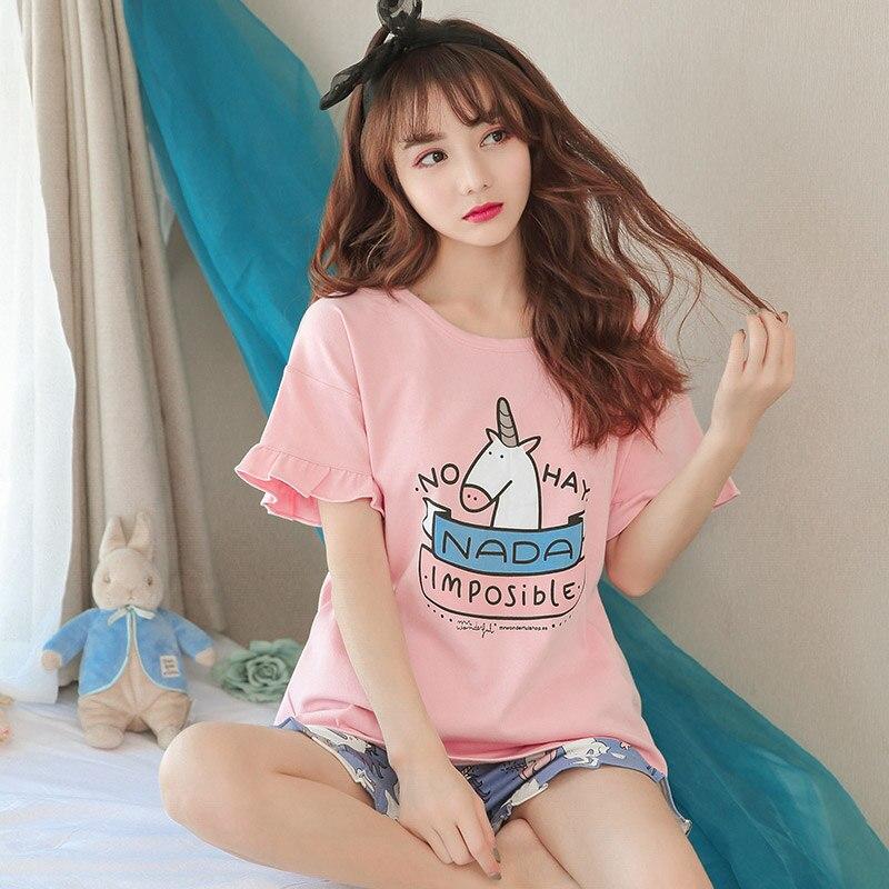 Short Pants + Short Sleeve Tops Pajamas Sets Cotton Nightwear Cartoon Pyjamas Women Summer Sleepwear Pyjamas Leisure 2pcs/set ...