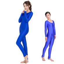Women Dance Unitard Black Lycra Spandex One Piece Long Sleeve Full Length Adult  jumpsuit Costumes