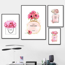 Nordic Pop Art Poster Flower Canvas Painting Picture Print Parfum Pink Posters Perfume Unframed