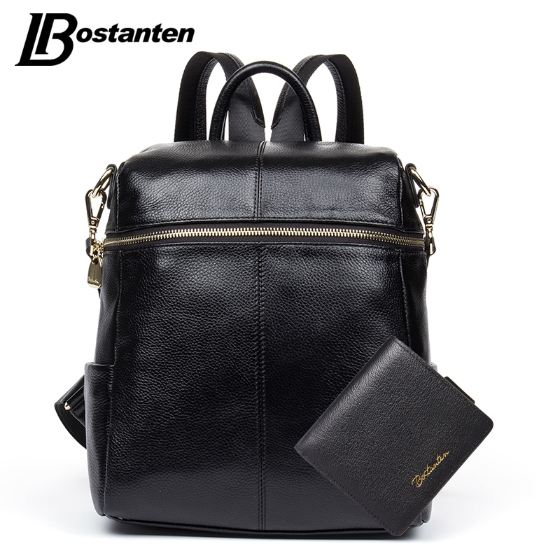 купить BOSTANTEN Natural Genuine Leather Women Backpack School Bags For Teenagers Student Fashion Ladies Zipper Backpack Bags Sac A Dos онлайн