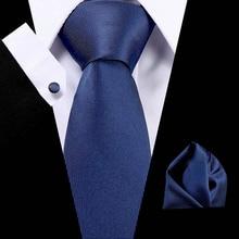 Fashion New Design Tie Set Business Mens Silk Floral Solid Ties Dark blue Neckties Pocket Square Cufflinks
