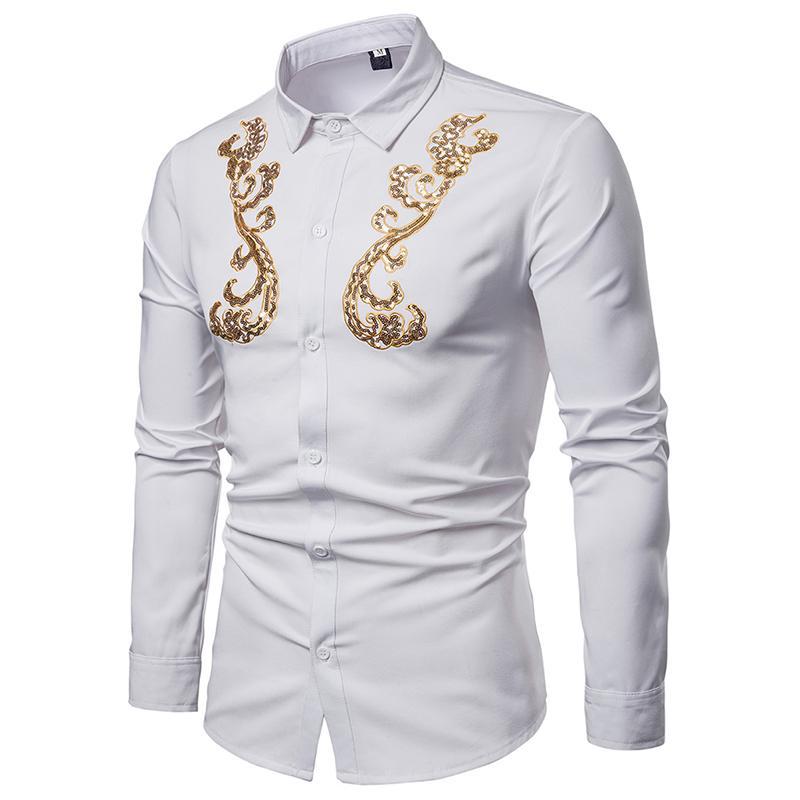 Wedding Dress Shirt Men Golden Flower Design Unique Mens Long Sleeve Shirt Fashion Blouse White Black 2019 New