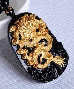 Image 3 - Бесплатная доставка, оптовая продажа, золотой, натуральный, черный обсидиан, резьба, дракон, счастливый амулет, кулон для женщин и мужчин, подвески, модные ювелирные изделия