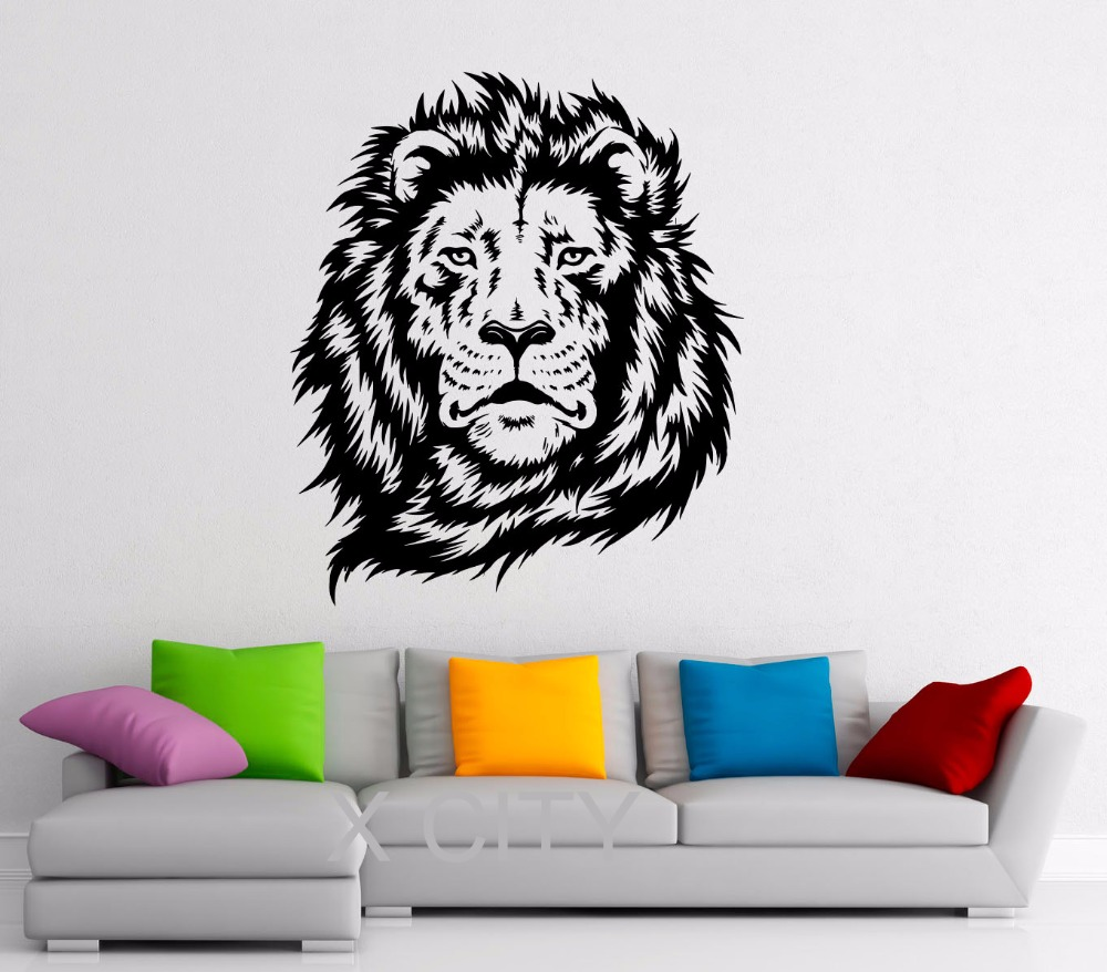lion king of african animal black wall art decal sticker removable vinyl transfer stencil mural. Black Bedroom Furniture Sets. Home Design Ideas