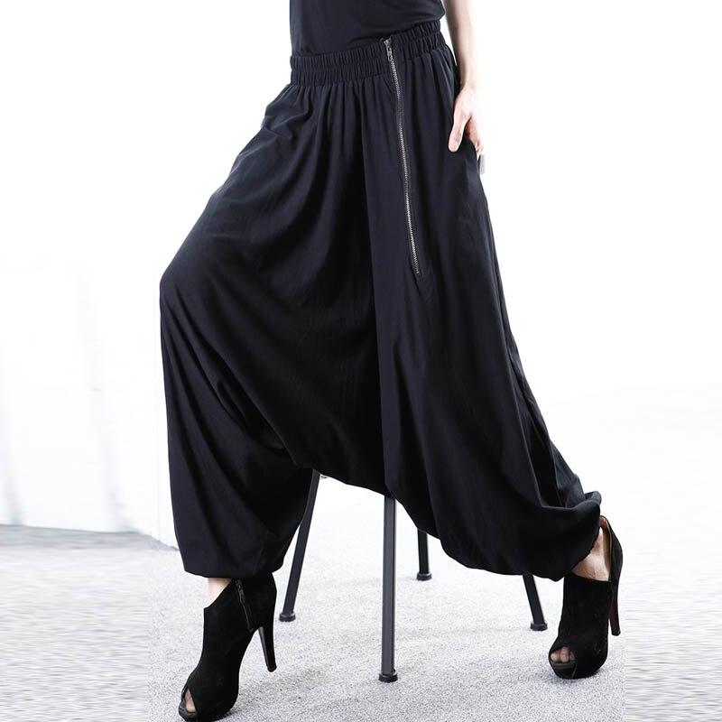 5XL ZANZEA Women Baggy Solid Drop-Crotch Zip Black Gothic Wide Leg Pants Long Harem Pants Pockets Work Turnip Pantalon Trousers