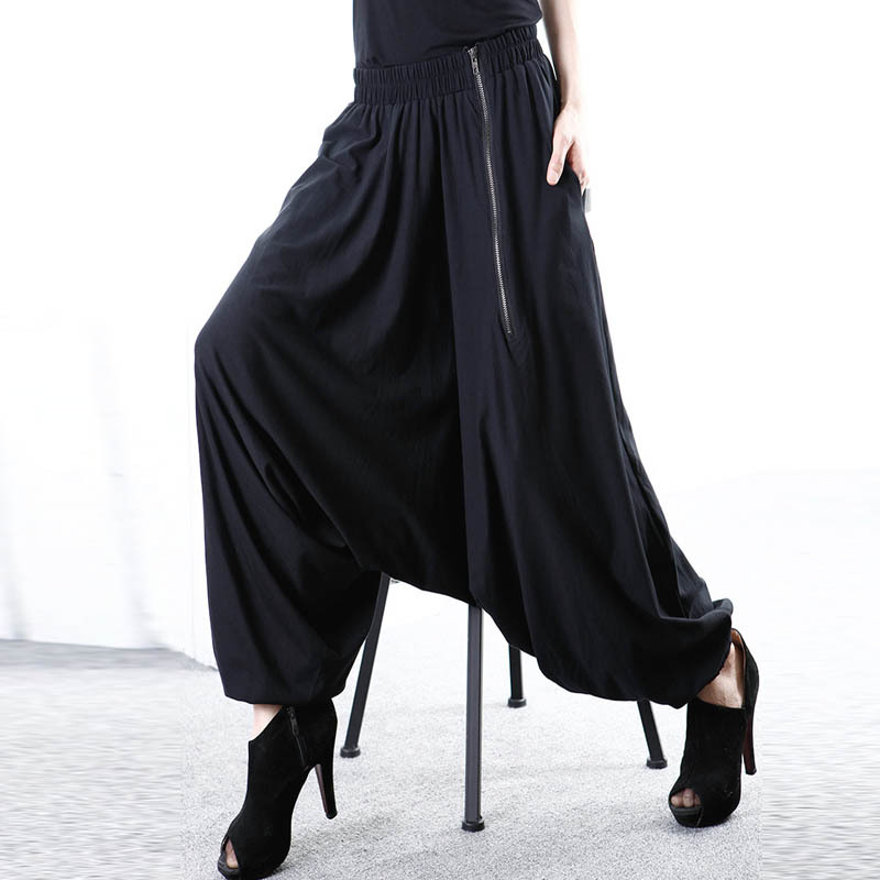 5XL ZANZEA Women Baggy Solid Drop-Crotch Zip Black Gothic   Wide     Leg     Pants   Long Harem   Pants   Pockets Work Turnip Pantalon Trousers