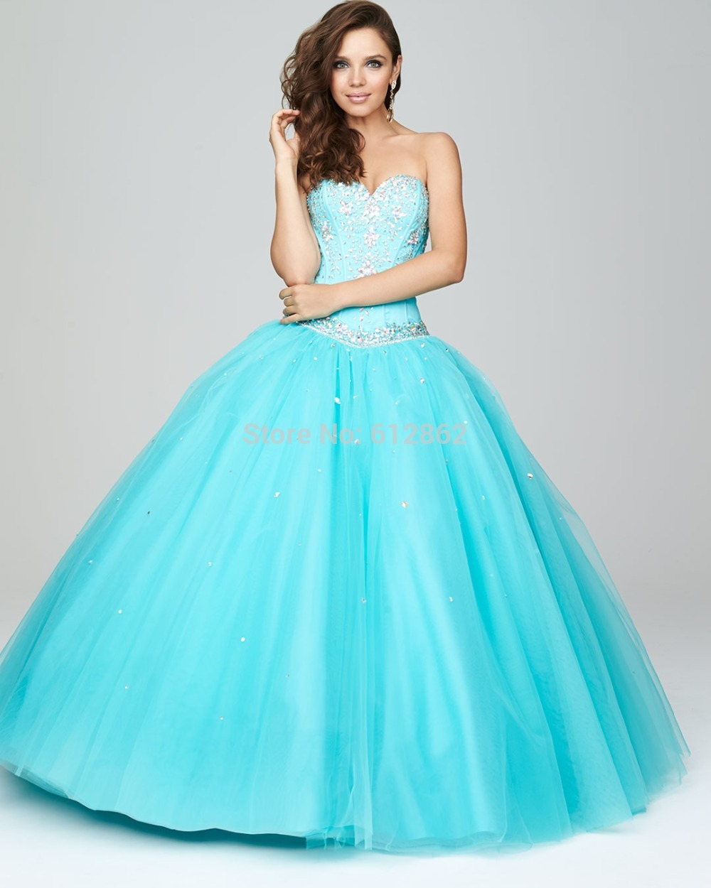 Strapless Sweetheart Tulle Ball Gown Crystals Top Baby Blue Wedding ...