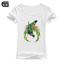 dac561c8ce30 Cutey Parrots T-Shirt Graphic Design Woman Funny Colorful Bird Printed T  Shirt Women Tees