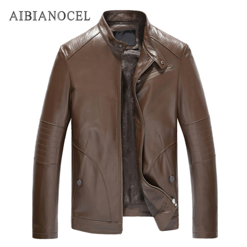 AIBIANOCEL 2017 Brand New Casual Style Spring 100% Sheepskin Mens Genuine Leather Jacket Jaqueta De Couro Black Male Casaco