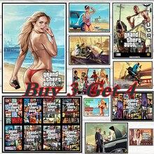 GTA 5 Grand Theft Auto San Andreas Gaming coated paper poster Mural de Pared Pegatinas Decoracion Del Hogar No picture frame