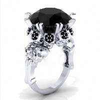 Choucong Jewelry Brand Punk Skull 10KT White Gold Filled Princess 4CT Black Zircon CZ Cocktail Bands