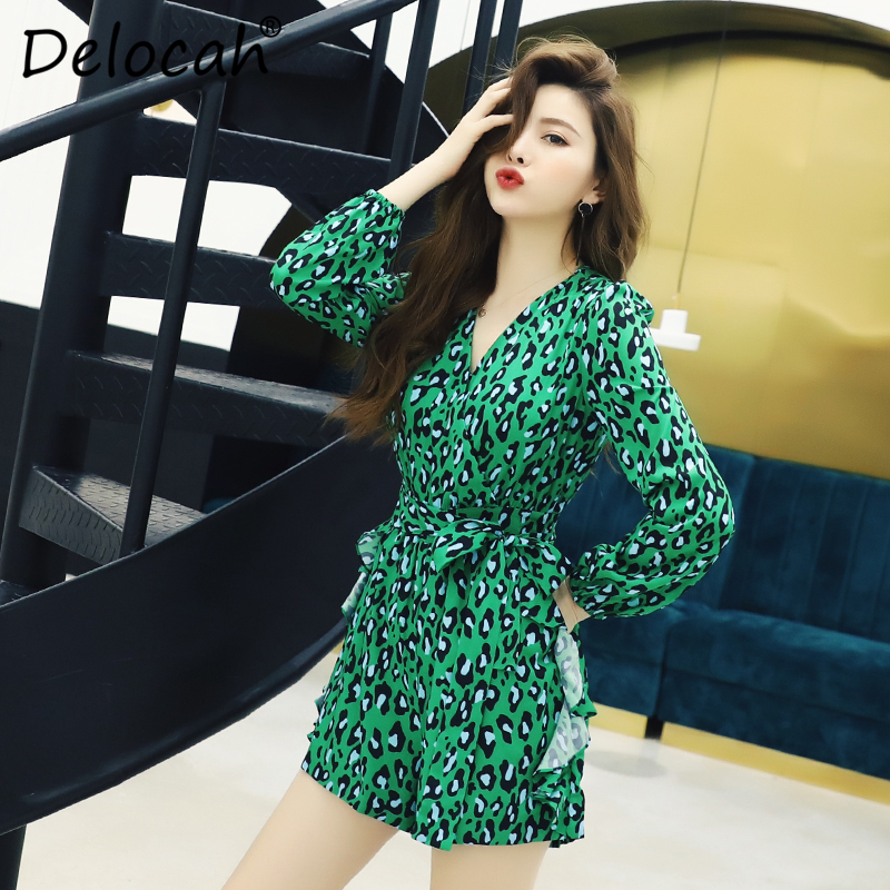 Delocah Women Spring Summer Rompers Runway Fashion Designer Sexy V Neck Simple Sashes Green Leopard Elegant