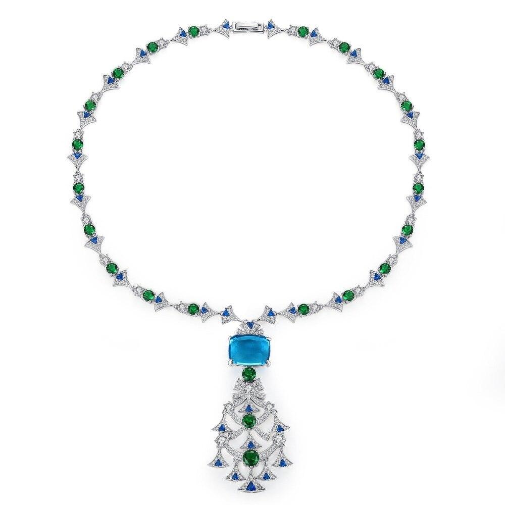 Vintage arbre forme mariage pendentif colliers pour femmes rouge/bleu couleur pavé CZ fête bijoux cadeaux