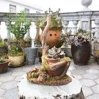 Caioffer Large Ceramic Flower Pots Bonsai Wooden Flowerpot For Succulents Plants Home Garden Office Balcony Decoration
