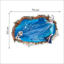 Disney Olaf & Elsa Princess Frozen 3Dview Broken Hole Wall Stickers Movie Mural Art Kids Room Accessories Home Decoration