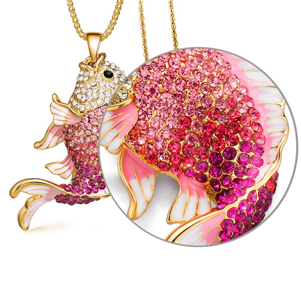2018 Baru Merek Ikan Kristal Ikan Mas Enamel Berlian Imitasi Kalung - Perhiasan fashion - Foto 2