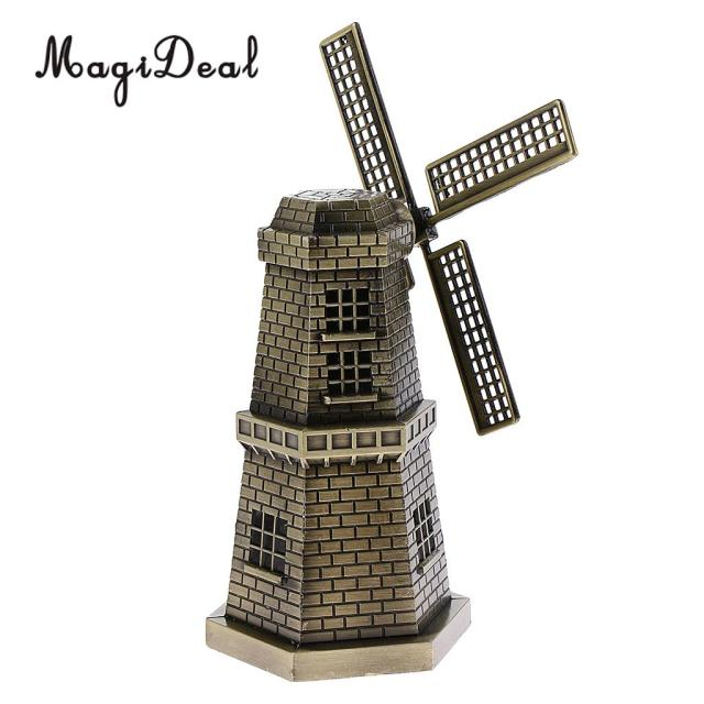 Vintage Metal Dutch Windmill Model Statue Figurine Craft For Bookshelf Bar Cafe Table Decor