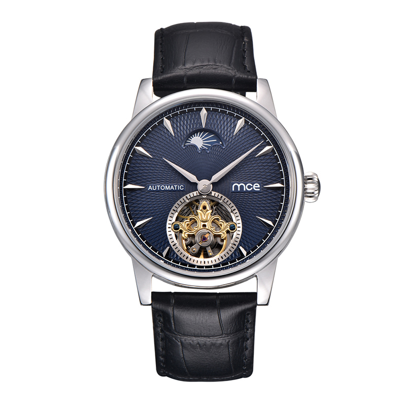 MCE special blue moon phase skeleton dial luxury men fashion leather automatic watch mce fashion scale gear dial analog automatic mechanical watch