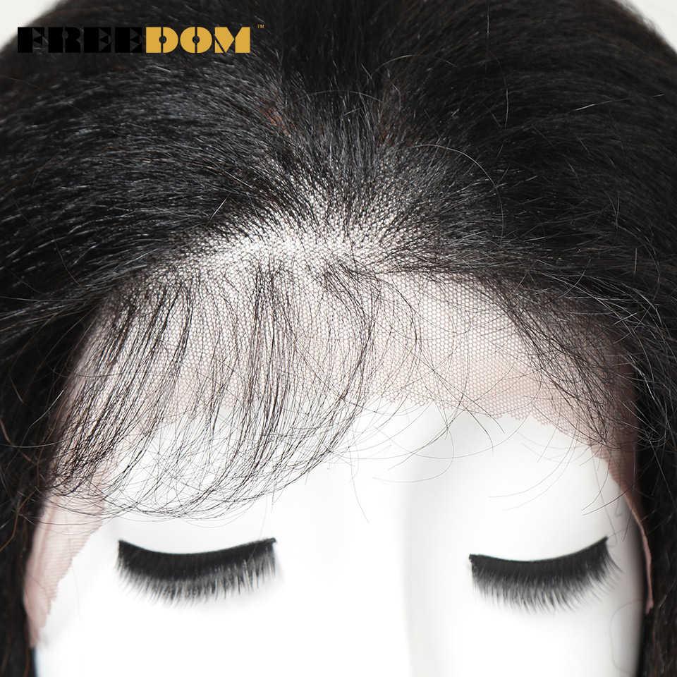 Pelucas frontales de encaje sintético FREEDOM para mujeres negras Yaki recta larga 26 pulgadas 65cm peluca Afro de encaje de fibra resistente al calor para cabello de bebé