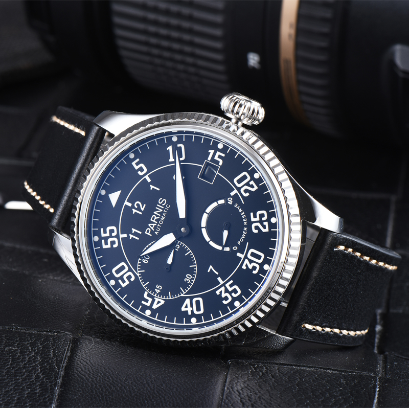New Parnis 45mm Dial Automatic Mechanical Men's Watch Leather Strap Waterproof Men Wrist Watches Man Clock 2019 Top Luxury Brand