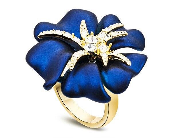 White Cubic Zirconia & Enamel Fashion Ring Flower Design Brand Jewelry Party Birthday Gifts Women Dress Ring Jewellery RJZ0002