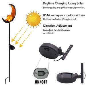 Image 3 - Solar LED Vlam Licht Retro ijzer Tuin Gazon Lamp Outdoor Tuin Landschap Decor Verlichting Zon Maan Hoek Vlam Zonne verlichting