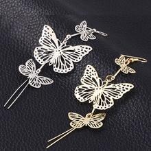 Women Elegance Gold Silver Color Alloy Double bow Butterfly drop earrings jewelry Hollow flower Long tassels earring