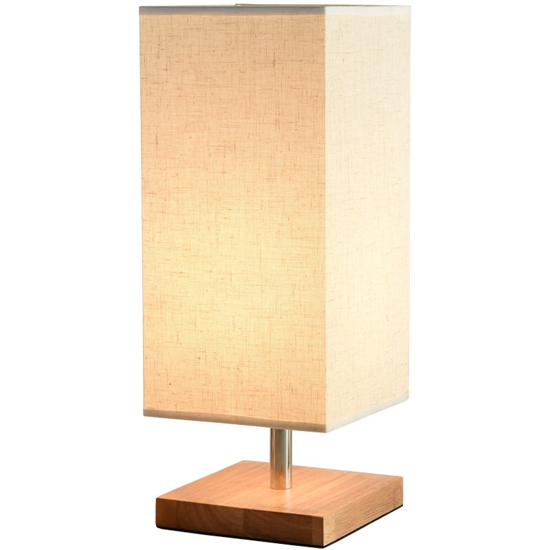 Modern Small Wooden Table Lamp for Bedroom Round Fabric ...