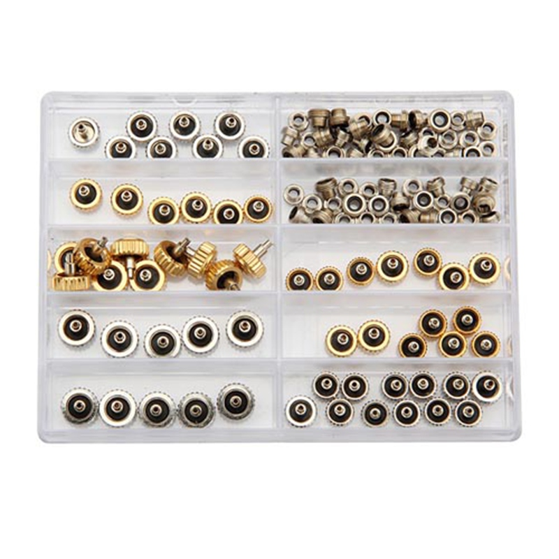 Brand New 60pcs Watch Crown for Rolex Copper 5.3mm 6.0mm 7.0mm Silver Gold Repair Accessories Assortment Parts
