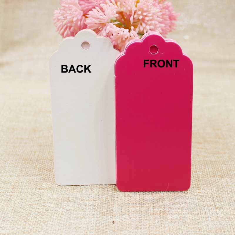 New 500pcs 9.5*4.50cm scallop shape hot pink cardboard luggage hang tag blank jewelry /gifts/ favors /products packing label tag