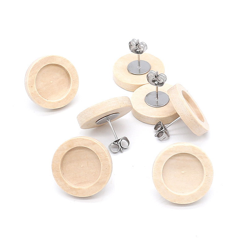 20pcs Blank Wood Cabochon Earring Base High Quality Stainless Iron Earring Studs(with Ear Plug) Base,Fit 12mm Glass Cabochons