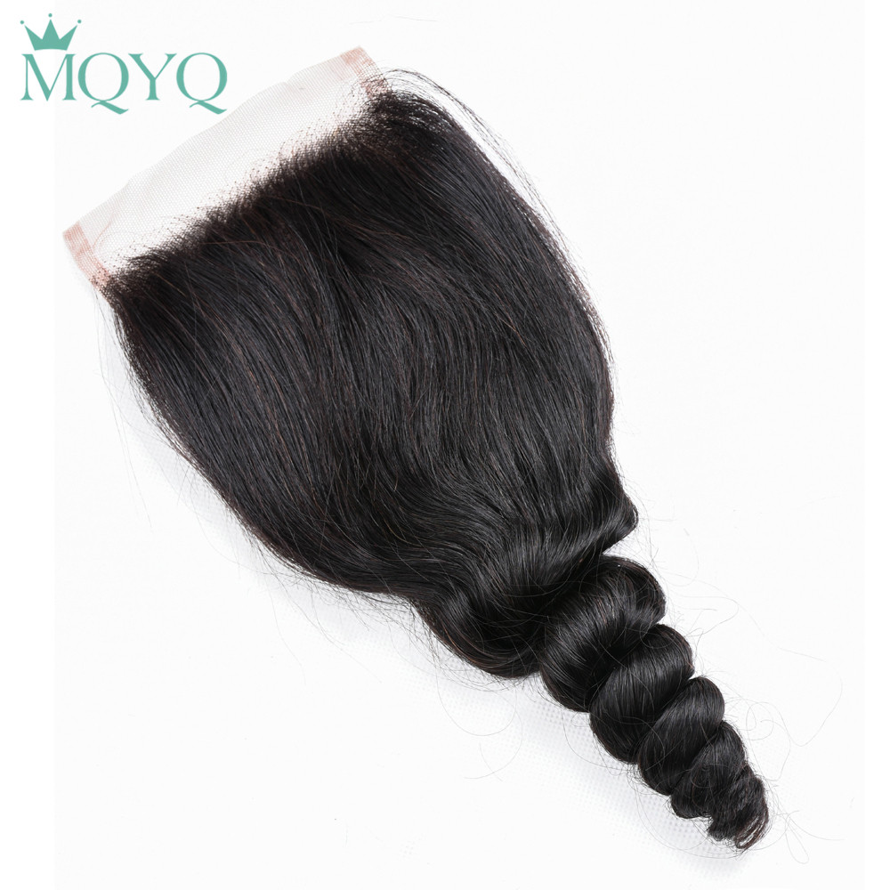 MQYQ Loose Wave Human Hair Weave 3 Bundles With Closure 4*4 Lace Closure With Brazilian Hair Bundles Non Remy Hair With Closure