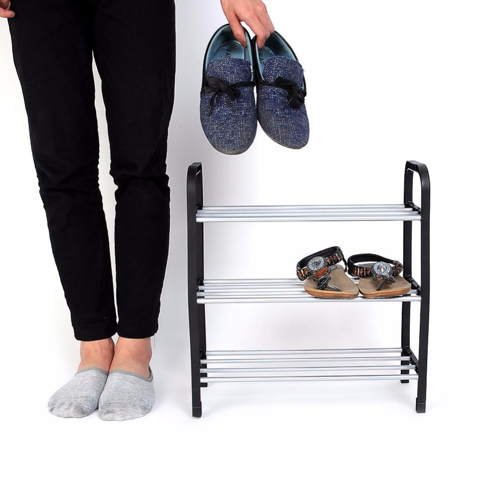 New 3 Tier Plastic Shoes Rack Organizer Stand Shelf Holder Unit Black Light Shoe Storage