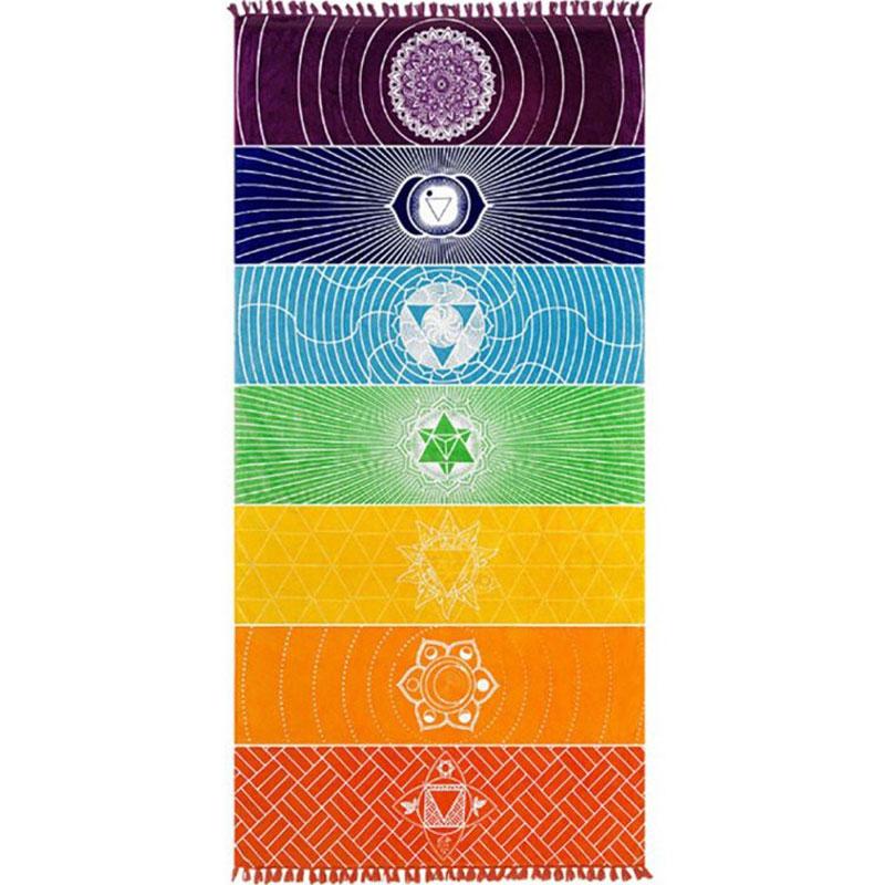 Dropship! Single Rainbow Chakra Tapestry Towel Carpet Mandala Boho Stripes Travel Yoga Mat Outdoor Mats 150x70cm/100x45cm 7