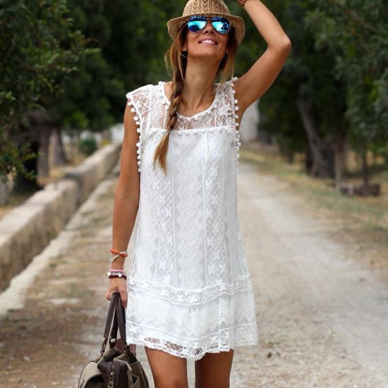 Msaiss summer fashion dress casual sin mangas sólido del o-cuello flojo de la pl