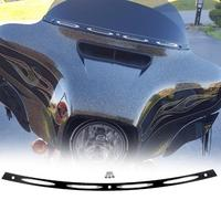 Black Anodized CNC 4 Slot Windshield Trim Motorcycle For 1996 2013 Harley Electra Street Glide FLHT