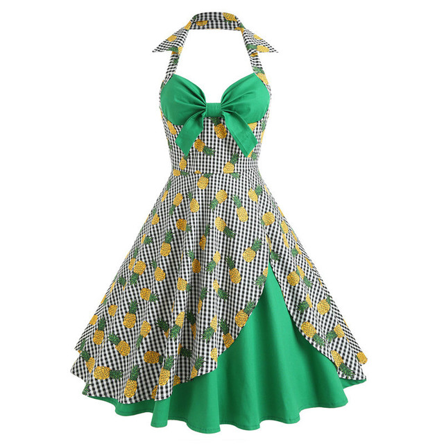 b46b5c9d65d Pineapple Print Vintage Halter Hawaiian Dress Summer Women Plaid Retro  Party Retro Vestidos Sexy Pin Up